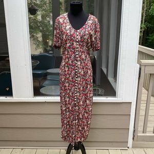 Vintage 90s Floral Button Front Lace Back Dress